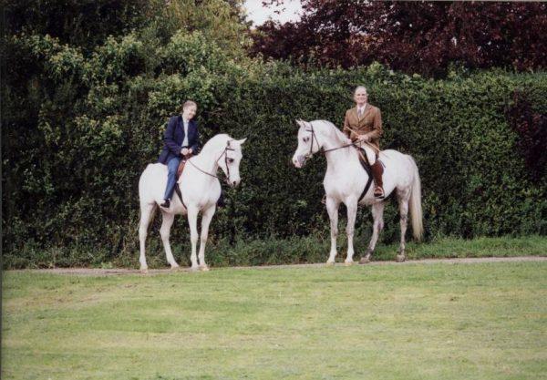 Joanna riding Aliha (Indian Silver x AK Atallah), Pat riding Kordelas (Monogramm x Kabala)