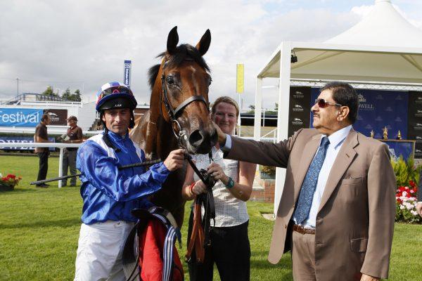 HH Sheikh Hamdan Bin Rashid Al Maktoum greets jockey Dane O'Neil and Prince Hamin