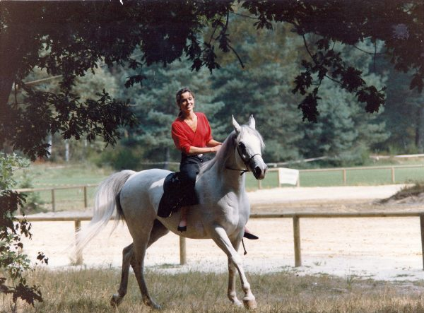 The European Champion Kazra el Saghira (Shakhs x Kazra), photographed here in 1989, ridden by Emma Mazwell