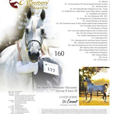 The contents page for The Arabian Breeders' Magazine Volume II Issue III
